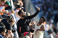 Fans in the crowd during the Black Caps v Australia international T20 cricket match at Eden Park in Auckland, New Zealand. 16 February 2018. Copyright Image: Peter Meecham / www.photosport.nz