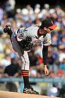 Barry Zito #75 of the San Francisco Giants pitches against the Los Angeles Dodgers at Dodger Stadium in Los Angeles,California on April 3, 2011. Photo by Larry Goren/Four Seam Images