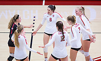 STANFORD, CA - November 4, 2018: Michaela Keefe, Kathryn Plummer, Holly Campbell, Audriana Fitzmorris, Jenna Gray, Morgan Hentz at Maples Pavilion. No. 2 Stanford Cardinal defeated the Utah Utes 3-0.