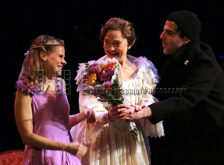 Celia Keenan-Bolger, Cherry Jones, Zachary Quinto during the Broadway Opening Night Curtain Call for 'The Glass Menagerie' at the Booth Theater on September 26, 2013 in New York City.