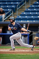 Lowell Spinners left fielder Devlin Granberg (35) follows through on a swing during a game against the Staten Island Yankees on August 22, 2018 at Richmond County Bank Ballpark in Staten Island, New York.  Staten Island defeated Lowell 10-4.  (Mike Janes/Four Seam Images)