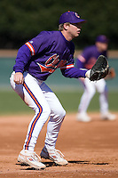Third baseman Mike Freeman (5) of the Clemson Tigers on defense versus the Wake Forest Demon Deacons during the second game of a double header at Gene Hooks Stadium in Winston-Salem, NC, Sunday, March 9, 2008.