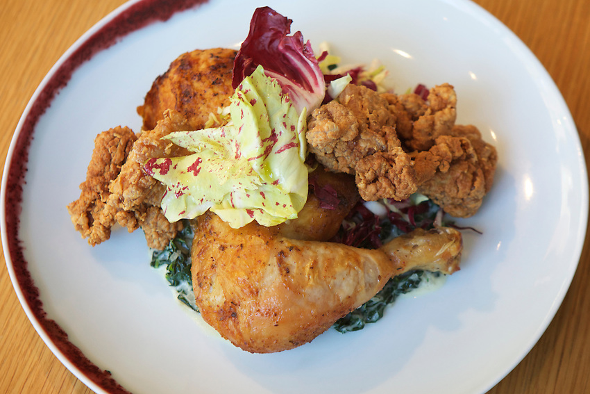 New York, NY - February 2, 2016: Roasted and fried chicken, kale, radicchio at Untitled (at The Whitney).<br /> <br /> CREDIT: Clay Williams for Edible Manhattan.<br /> <br /> &copy; Clay Williams / claywilliamsphoto.com
