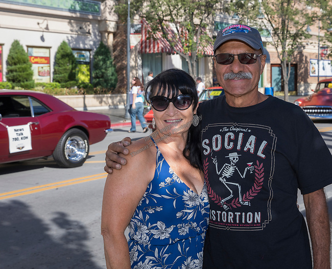 Deborah and Michael Arreola from San Jose during the Hot August Nights Parade in downtown Reno on Sunday, August 13, 2017.