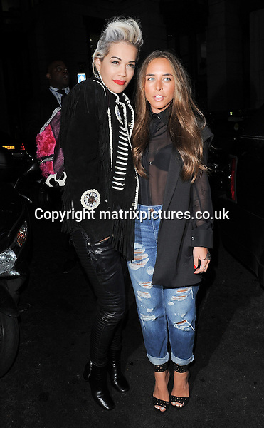 NON EXCLUSIVE PICTURE: PALACE LEE / MATRIXPICTURES.CO.UK<br /> PLEASE CREDIT ALL USES<br /> <br /> WORLD RIGHTS<br />  <br /> British singer Rita Ora, American rapper Will.i.am, British businessman Philip Green and his daughter, Chloe Green are pictured as they enjoy dinner together at Novikov, in London.  <br /> <br /> APRIL 2nd 2014<br /> <br /> REF: LTN 141641
