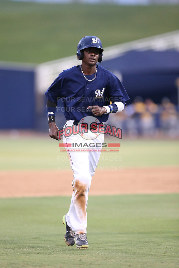 Nicolas Pierre (8) of the AZL Brewers during a game against the AZL Athletics at Maryvale Baseball Park on June 30, 2015 in Phoenix, Arizona. Brewers defeated Athletics, 4-2. (Larry Goren/Four Seam Images)