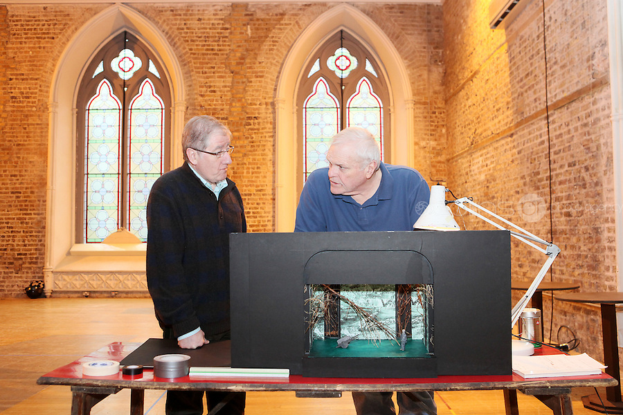 NO REPRO FEE.13/12/2010. The Field rehearsals. Director Joe Dowling and Brian Dennehy performing the iconic role of 'The Bull' McCabe are pictured with a scale model of the stage at Smock Alley Theatre, Temple Bar, Dublin for their first day of rehearsals for John B Keane's award-winning play, The Field. It will be directed by Joe Dowling. The play returns to The Olympia Theatre where it premiered over 45 years ago and will run from January 13 through to 12 February. Picture James Horan/Collins Photos