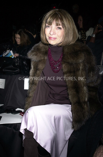 Anna Wintour at the Anne Klein 2003 Fall Fashion Show at Bryant Park. New York. February 11, 2003. Please byline: ARTHUR J./ACEPIXS.COM   .. *** ***  ..Ace Pictures, Inc:  ..contact: Alecsey Boldeskul (646) 267-6913 ..Philip Vaughan (646) 769-0430..e-mail: info@acepixs.com