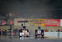Oct. 6, 2012; Mohnton, PA, USA: NHRA top fuel dragster driver Rit Pustari (right) collides with the car of Clay Millican during qualifying for the Auto Plus Nationals at Maple Grove Raceway. Mandatory Credit: Mark J. Rebilas-
