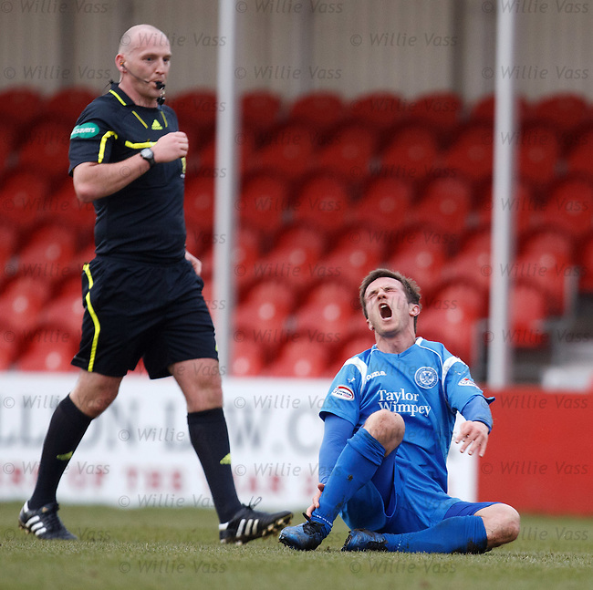 Chris Millar in agony after a Simon Mensing lunge