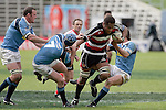 Waka Setitaia is taken by Northland defenders Joel McKenty & David Hollwell. Air NZ Cup week 4 game between the Counties Manukau Steelers and Northland played at Mt Smart Stadium on the 19th of August 2006. Northland won 21 - 17.