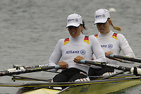 Munich, GERMANY, 2006, FISA, Rowing, World Cup, GER LW2X  Bow Berit Carow and Marie-Louise Draeger.  held on the Olympic Regatta Course, Munich, Thurs. 25.05.2006. © Peter Spurrier/Intersport-images.com,  / Mobile +44 [0] 7973 819 551 / email images@intersport-images.com..[Mandatory Credit, Peter Spurier/ Intersport Images] Rowing Course, Olympic Regatta Rowing Course, Munich, GERMANY