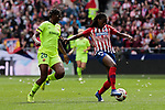 Atletico de Madrid's Aissatou Tounkara and FC Barcelona's Asisat Oshoala during Liga Iberdrola match between Atletico de Madrid and FC Barcelona at Wanda Metropolitano Stadium in Madrid, Spain. March 17, 2019. (ALTERPHOTOS/A. Perez Meca)