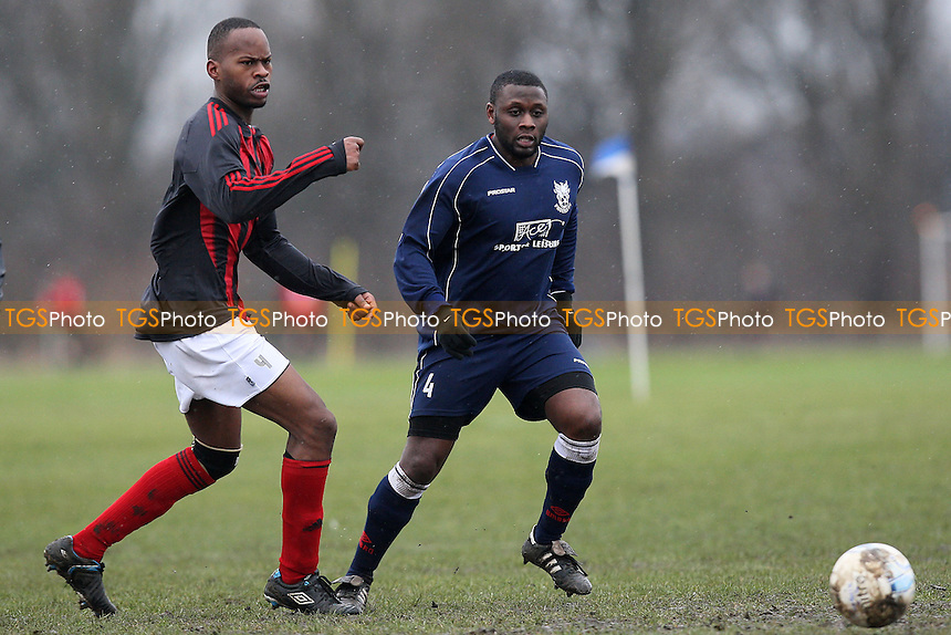 Phoenix (blue) vs Sporting Rossoneri - Hackney & Leyton Sunday League Dickie Davies Cup Football at South Marsh, Hackney Marshes, London - 10/02/13 - MANDATORY CREDIT: Gavin Ellis/TGSPHOTO - Self billing applies where appropriate - 0845 094 6026 - contact@tgsphoto.co.uk - NO UNPAID USE.