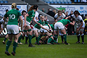16th March 2018, Ricoh Arena, Coventry, England; Womens Six Nations Rugby, England Women versus Ireland Women; Nicole Cronin passes the ball to Niamh Briggs of Ireland