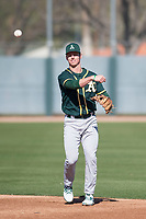Oakland Athletics infielder Kevin Merrell (4) during Spring Training Camp on February 24, 2018 at Lew Wolff Training Complex in Mesa, Arizona. (Zachary Lucy/Four Seam Images)