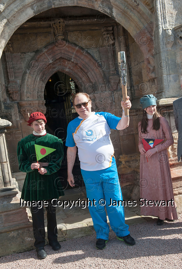 Hollywood actor and current Rector of The University of Dundee, Brian Cox, arrives at Rosslyn Chapel with the Queen's Baton.
