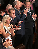 From left to right: United States Senator Kyrsten Sinema (Democrat of Arizona), US Senator Michael F. Bennet (Democrat of Colorado), US Senator Bob Casey, Jr. (Democrat of Pennsylvania), and US Senator Gary Peters (Democrat of Michigan) applaud as Jens Stoltenberg, Secretary General of the North Atlantic Treaty Organization (NATO) arrives to address a joint session of the United States Congress in the US Capitol in Washington, DC on Wednesday, April 3, 2019.<br /> Credit: Ron Sachs / CNP