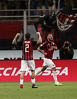 Calcio, Serie A: AC Milan - AS Roma, Milano stadio Giuseppe Meazza (San Siro) 31 agosto 2018. <br /> AC Milan's Patrick Cutrone (r) celebrates after scoring with his teammate Davide Calabria (l) during the Italian Serie A football match between Milan and Roma at Giuseppe Meazza stadium, August 31, 2018. <br /> UPDATE IMAGES PRESS/Isabella Bonotto