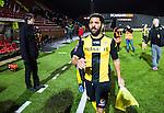 S&ouml;dert&auml;lje 2014-04-07 Fotboll Superettan Assyriska FF - Hammarby IF :  <br /> Hammarbys Stefan Batan efter matchen med ett pl&aring;ster &ouml;ver n&auml;san efter att ha f&aring;tt en spark av Assyriskas Levon Pachajyan  i en n&auml;rkamp under den f&ouml;rsta halvleken<br /> (Foto: Kenta J&ouml;nsson) Nyckelord:  Assyriska AFF S&ouml;dert&auml;lje Hammarby HIF Bajen skada skadan ont sm&auml;rta injury pain