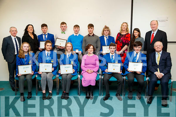 Castleisland Community College pupils and teachers, pictured at the Kerry Education and Training Board student awards at the Institute of Technology, Tralee on Friday night last were front l-r: Fiona O'Connor, Maeve Young, Aisling O'Connell, Ann O'Dwyer (Director of Schools),Liam Moloney, Kevin Keane and John O'Sullivan (Lee Strand).. Back l-r: Colm McEvoy (Chief Executive Officer, Kerry ETB), Juanita Lovett, James O'Connor, Patrick Horan, Johnathan Hilliard, Padraig O'Connell Theresa Lonergan, Gráinne Spillane, Elaine Murphy and Jim Finucane (President, Kerry ETB)