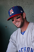 Mikey White (14) of the Stockton Ports in the dugout before a game against the Lancaster JetHawks at The Hanger on May 26, 2016 in Lancaster, California. Stockton defeated Lancaster, 16-7. (Larry Goren/Four Seam Images)