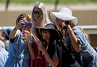 ELMONT, NY - JUNE 09: Fans take a selfie on Belmont Stakes Day at Belmont Park on June 9, 2018 in Elmont, New York. (Photo by Kazushi Ishida/Eclipse Sportswire/Getty Images)