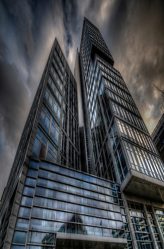 Surreal HDR of Berlin city, shot early evening. Modern office building in Mitte.