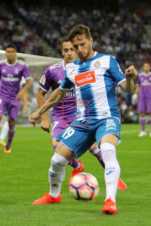 League Santander 2016/2017. Game: 4.<br /> RCD Espanyol vs R. Madrid: 0-2.<br /> Lucas Vazquez vs Pablo Piatti.