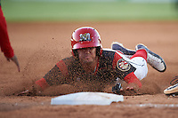 Batavia Muckdogs Aaron Knapp (5) slides head first into third base during a game against the West Virginia Black Bears on June 29, 2016 at Dwyer Stadium in Batavia, New York.  West Virginia defeated Batavia 9-4.  (Mike Janes/Four Seam Images)