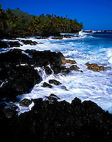 Puna coastline with palms and crashing waves, Big Island