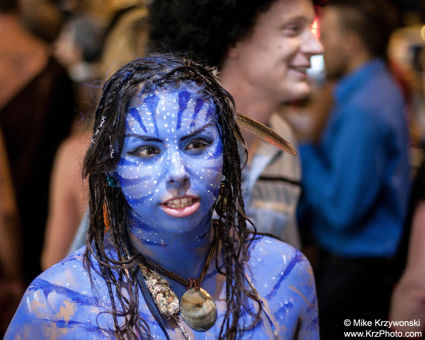 Girl dressed as Avatar movie character for Halloween in Waikiki, Honolulu, Oahu, Hawaii