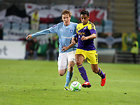 Thursday 08 August 2013<br /> Pictured L-R: Emil Forsberg of Malmo challenging Neil Taylor of Swansea <br /> Re: Malmo FF v Swansea City FC, UEFA Europa League 3rd Qualifying Round, Second Leg, at the Swedbank Stadium, Malmo, Sweden.
