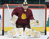 Aaron Crandall (Duluth - 31) - The University of Minnesota-Duluth Bulldogs practiced on Friday morning, April 8, 2011, during the 2011 Frozen Four at the Xcel Energy Center in St. Paul, Minnesota.