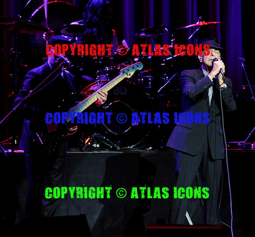 Roscoe Beck, Rafael Gayol and Leonard Cohen (from left to right) performing at the Beacon Theater in New York City on February 19, 2009. .© David Atlas / Atlas Icons.com