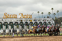 ARCADIA, CA  FEBRUARY 11: The start of the Santa Maria Stakes (Grade ll) on February 11, 2017 at Santa Anita Park in Arcadia, CA. (Photo by Casey Phillips/Eclipse Sportswire/Getty Images)