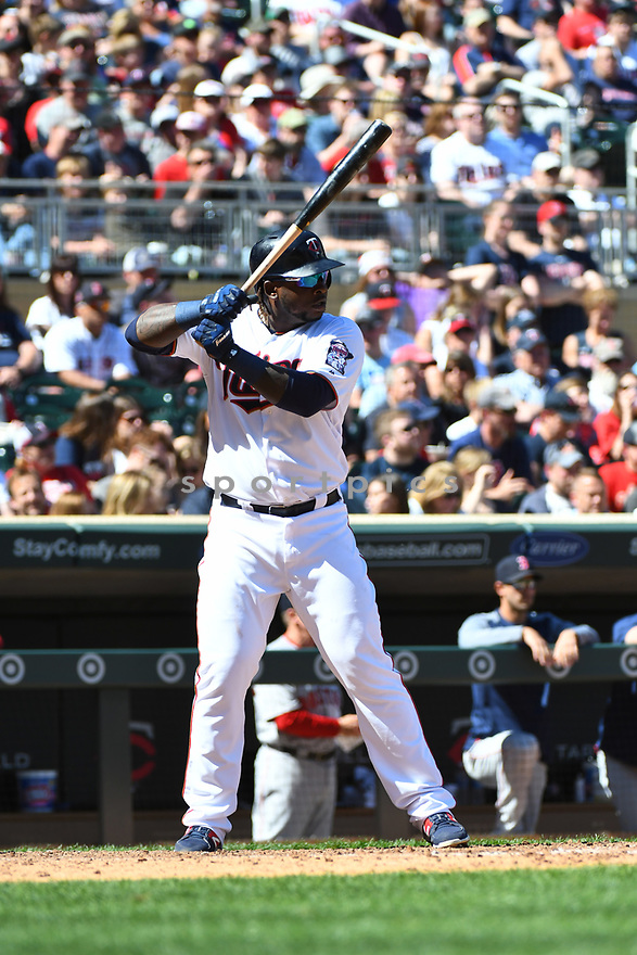 MINNEAPOLIS MN - May 7, 2017: Miguel Sano #22 of the Minnesota Twins during a game against the Boston Red Sox on May 7, 2017 at Target Field in Minneapolis, MN. The Red Sox beat the Twins 17-6.(David Durochik/ SportPics)