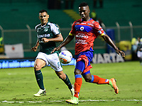 PALMIRA - COLOMBIA, 11-11-2018: Jose Sand (Izq) del Deportivo Cali disputa el balón con Jose Ortiz (Der) de Deportivo Pasto durante partido por la fecha 19 de la Liga Aguila II 2018 jugado en el estadio Palmaseca de Cali. / Jose Sand (L) player of Deportivo Cali fights for the ball with Jose Ortiz (R) player of Deportivo Pasto during match for the date 19 of the Aguila League II 2018 played at Palmaseca stadium in Cali. Photo: VizzorImage/ Nelson Rios / Cont