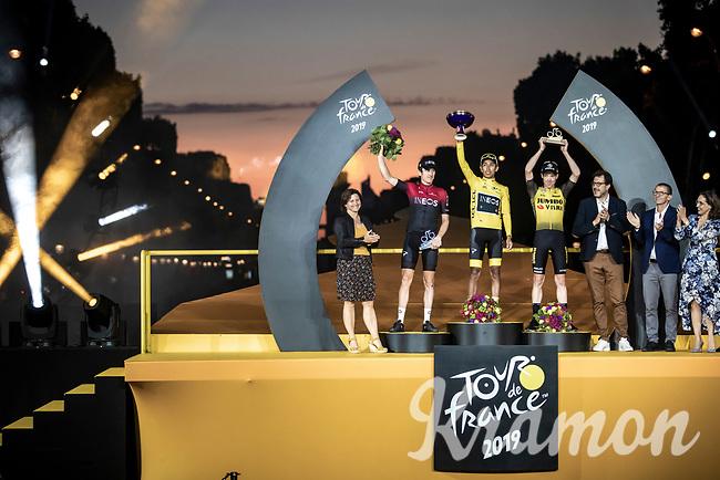 2019 Tour de France podium:<br /> 1st place Egan Bernal (COL/Ineos)<br /> 2nd place Geraint Thomas (GBR/Ineos)<br /> 3th place Steven Kruijswijk (NED/Jumbo Visma)<br /> <br /> <br /> Stage 21: Rambouillet to Paris (128km)<br /> 106th Tour de France 2019 (2.UWT)<br /> <br /> ©kramon