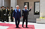 Palestinian President Mahmud Abbas welcomes his Chilean counterpart Sebastian Pinera upon his arrival to the presidential compound in the West Bank city of Ramallah on June 27, 2019. Photo by Thaer Ganaim
