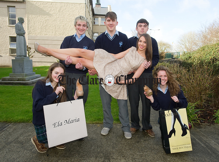 Pupils Laura Chesser, Patrick Mc Daid, David Flynn, Tadhg Kelleher and Tara Mc Mahon with model Stephanie of Coast Model management at the launch of the forthcoming Rice College Shop And Style Fashion show in aid of the school building development fund, which is on at The West County Hotel on Friday 14th March. Photograph by John Kelly.