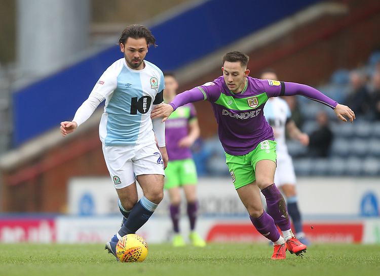 Blackburn Rovers Bradley Dack in action with Bristol City's Josh Brownhill<br /> <br /> Photographer Mick Walker/CameraSport<br /> <br /> The EFL Sky Bet Championship - Blackburn Rovers v Bristol City - Saturday 9th February 2019 - Ewood Park - Blackburn<br /> <br /> World Copyright &copy; 2019 CameraSport. All rights reserved. 43 Linden Ave. Countesthorpe. Leicester. England. LE8 5PG - Tel: +44 (0) 116 277 4147 - admin@camerasport.com - www.camerasport.com