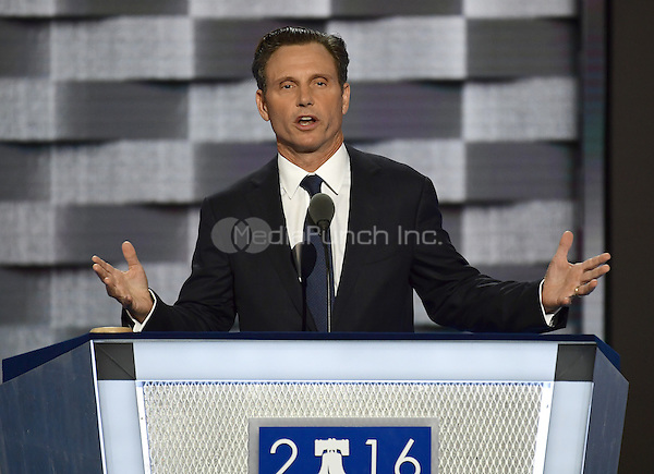 Actor Tony Goldwyn makes remarks during the second session of the 2016 Democratic National Convention at the Wells Fargo Center in Philadelphia, Pennsylvania on Tuesday, July 26, 2016.<br /> Credit: Ron Sachs / CNP/MediaPunch<br /> (RESTRICTION: NO New York or New Jersey Newspapers or newspapers within a 75 mile radius of New York City)