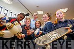 Samuel Aladesanusi, Nathan Rodgers, Síofra O'Carroll, Charlotte Fort, Yvonne Hurley, all from St. Johns Parochial School pictured with James Soper (the Juggling Scientist) on Friday at the Science Week roadshow at Kerry County Library.