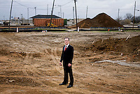 Transit-Oriented Development Manager for the City of Carrollton, Peter Braster (cq), in a new DART station site in Carrollton, Texas, Monday, March 17, 2008. The City of Carrolton is currently looking to expand its connection to downtown with the DART Rail. PHOTO/MATT NAGER