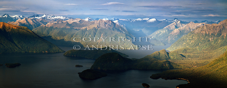 Aerial view of Lake Manapouri, Fiordland National Park. New Zealand.