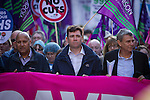 "© Joel Goodman - 07973 332324 . No syndication permitted . 29/09/2013 . Manchester , UK . ANDY BURNHAM , MP for Leigh and Shadow Secretary of State for Health at the front of the march . A Unison lead demonstration titled "" Save our NHS "" through Manchester City Centre today (Sunday 29th September 2013) coinciding with the Conservative Party Conference in the city . Photo credit : Joel Goodman"