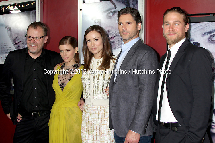 LOS ANGELES - NOV 29:  Stefan Ruzowitzky, Kate Mara, Olivia Wilde, Eric Bana, Charlie Hunnam arrives at the 'Deadfall' premiere at ArcLight Hollywood Theaters on November 29, 2012 in Los Angles, CA