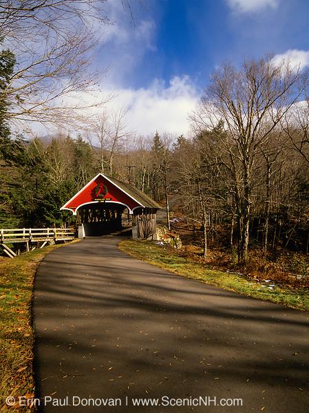 Franconia Notch State Park - Flume Covered Bridge in Lincoln, New Hampshire USA.
