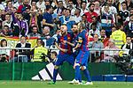 Leo Messi, Andres Iniesta and Jordi Alba of FC Barcelona celebrates after scoring a goal during the match of La Liga between Real Madrid and Futbol Club Barcelona at Santiago Bernabeu Stadium  in Madrid, Spain. April 23, 2017. (ALTERPHOTOS)